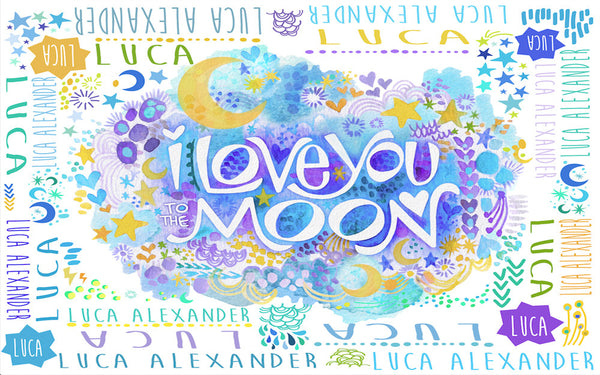 "Stephanie Corfee ""Moon Boy"" Blanket with Names"