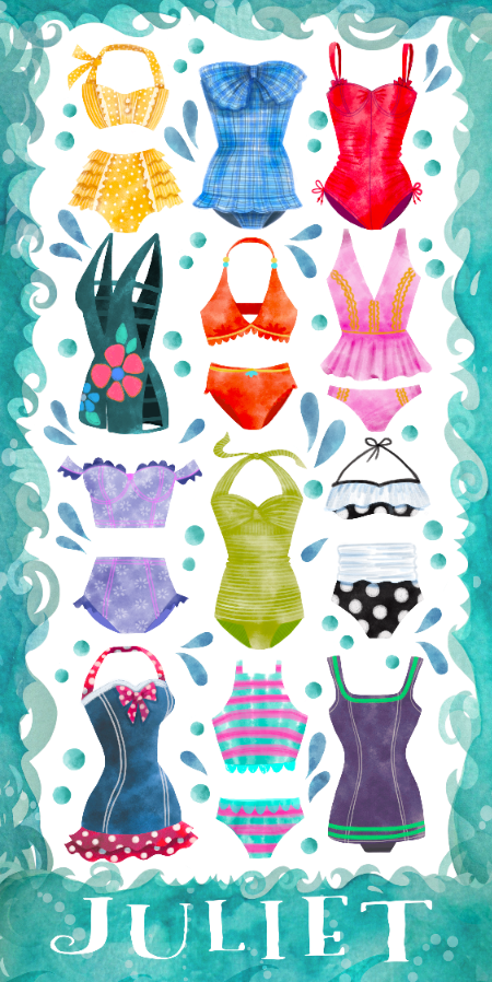 Vintage Inspired Swimsuit beach towel with Stephanie Corfee