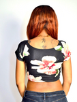 Black Floral / Flower Off Shoulder Short Sleeve Crop Top / Made in USA