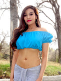 Turquoise Short Sleeve Peasant Crop Top