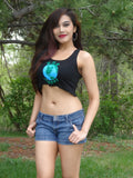 One Planet Earth Day Black Crop Tank Top