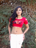 Red Slashed Short Sleeve Red Crop Top
