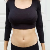 Black Long Sleeve Form-Fitting Crop Top / Made in USA