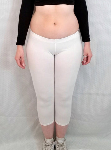 Ultra Low Rise / Super Low Rise White Capri Leggings / Made in USA