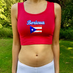 Boricua Puerto Rico Red Ribbed Crop Top / Made in USA