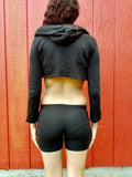 Goal Digger Black Long Sleeve Cropped Hoodie / Crop Top / Made in USA