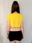 Lakers Basketball Yellow Loose Boxy Short Sleeve Crop Top / Made in USA