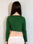 Go Pack Go Packers Loose Boxy Green Long Sleeve Crop Top / Made in USA