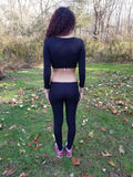 Dress Coded Black Long Sleeve Crop Top / Made in USA