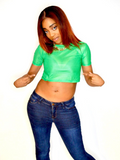 Loose Boxy Green Crop Top Jersey / Made in USA