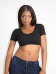 Black Short Sleeve Form-Fitting Crop Top / Made in USA