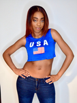 USA Blue Loose Boxy Crop Tank Top / Made in USA