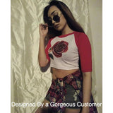 3/4 Sleeve White and Red Raglan Crop Top / Cropped Baseball Tee / Made in USA