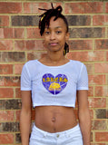 Lakers Basketball White Short Sleeve Crop Top / Cropped Jersey / Made in USA