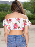 Allure Short Sleeve White / Floral Peasant Crop Top / Made in USA