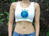 One Planet Earth Day White Crop Tank Top