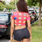 Faded Red Short Sleeve Emoji Crop Top