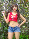 More Love Less Hate Red Crop Tank Top