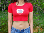 California Love Red Short Sleeve Crop Top