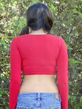 USA Red Long Sleeve Crop Top