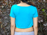 Soft Turquoise Short Sleeve Crop Top