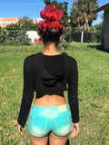 Loose Boxy Black Long Sleeve Cropped Hoodie / Crop Top / Made in USA