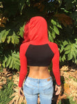 Long Sleeve Black and Red Raglan Cropped Hoodie / Crop Top / Made in USA