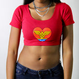 I Love Wonder Woman Red Short Sleeve Crop Top / Made in USA
