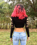 Black Slashed Long Sleeve Crop Top / Made in USA