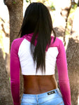 Long Sleeve White and Dark Pink Raglan Cropped Hoodie / Crop Top