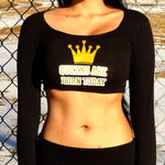 Queen Birthday Black Long Sleeve Crop Top / Made in USA