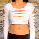 White Slashed Long Sleeve Crop Top / Made in USA