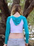 Long Sleeve White and Turquoise Raglan Cropped Hoodie / Crop Top / Made in USA