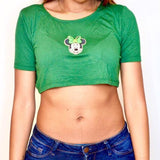 St. Patrick's Day Minnie Mouse Green Loose Boxy Short Sleeve Crop Top / Made in USA