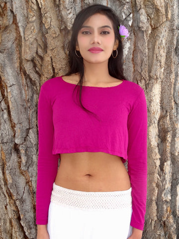 Loose Boxy Dark Pink Fuchsia Long Sleeve Crop Top