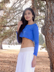 Loose Boxy Blue Long Sleeve Crop Top