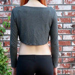 Loose Boxy Gray Long Sleeve Crop Top / Made in USA