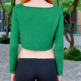 Loose Boxy Green Long Sleeve Crop / Made in USA