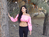Bella Rosa Pink Long Sleeve Peasant Crop Top