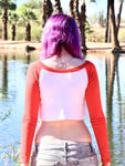 Long Sleeve White and Red Raglan Crop Top