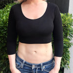 Black 3/4 Sleeve Form-Fitting Crop Top
