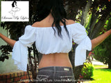 Sirenaz White Long Open Sleeve Peasant Crop Top