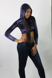 Purple Faux Velvet Long Sleeve Crop Top Hoodie / Cropped Hoodie / Made in USA