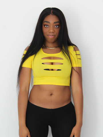 Yellow Slashed Short Sleeve Crop Top / Made in USA
