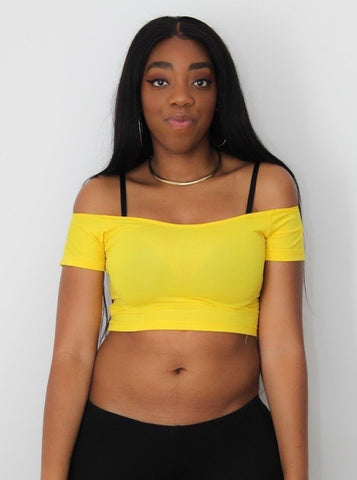 Yellow Open Neck Off Shoulder Short Sleeve Crop Top / Made in USA