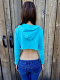 Boss Light Blue /Aqua Long Sleeve Cropped Hoodie / Crop Top / Made in USA