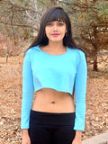 Loose Boxy Light Blue Aqua Long Sleeve Cropped Hoodie / Crop Top / Made in USA