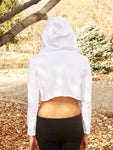 Loose Boxy White Long Sleeve Cropped Hoodie / Crop Top / Made in USA