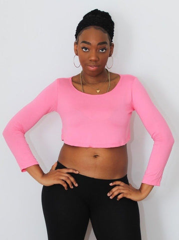 Loose Boxy Pink Long Sleeve Crop Top / Made in USA