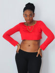 Loose Boxy Red Long Sleeve Crop Top / Made in USA